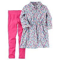 Girls 4-8 Carter's Floral Long-Sleeved Shirt & Leggings Set