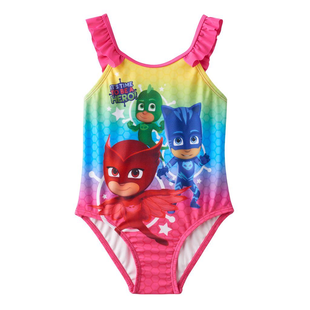Toddler Girl PJ Masks Gekko, Catboy & Owlette Rainbow Ruffle One-Piece Swimsuit