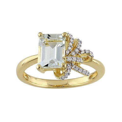 Laura Ashley Sterling Silver Green Quartz & 1/10 Carat T.W. Diamond Bow Ring
