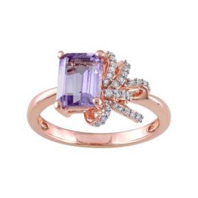 Laura Ashley Sterling Silver Rose de France Amethyst & 1/10 Carat T.W. Diamond Bow Ring