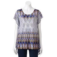 Women's World Unity Print Flutter Top