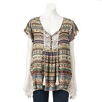 Women's World Unity Print Henley Top