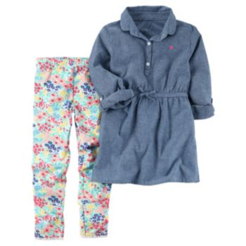 Girls 4-8 Carter's Chambray Top & Floral Leggings Set