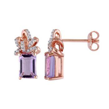 Stella Grace Laura Ashley Sterling Silver Rose de France Amethyst & 1/10 Carat T.W. Diamond Bow Stud Earrings