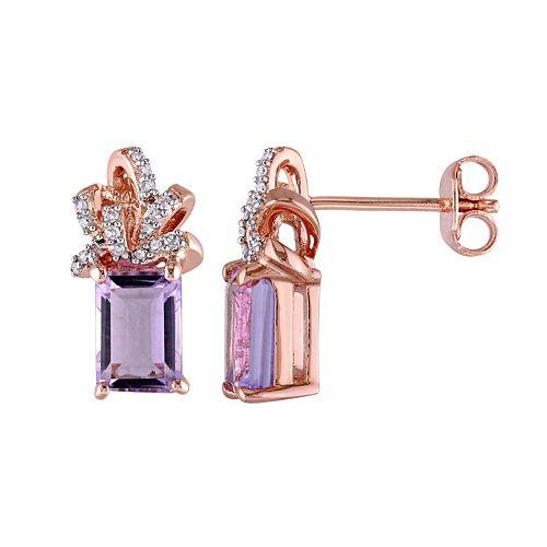 Laura Ashley Sterling Silver Rose de France Amethyst & 1/10 Carat T.W. Diamond Bow Stud Earrings