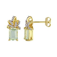 Stella Grace Laura Ashley Sterling Silver Green Quartz & 1/10 Carat T.W. Diamond Bow Stud Earrings