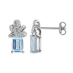 Stella Grace Laura Ashley Sterling Silver Sky Blue Topaz & 1/10 Carat T.W. Diamond Bow Stud Earrings