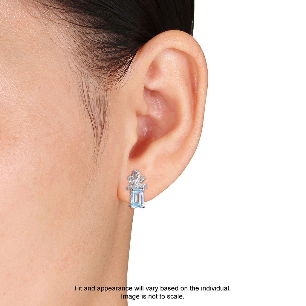 Laura Ashley Sterling Silver Sky Blue Topaz & 1/10 Carat T.W. Diamond Bow Stud Earrings