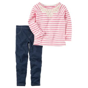 Girls 4-8 Carter's Embroidered Striped Top & Jeggings Set
