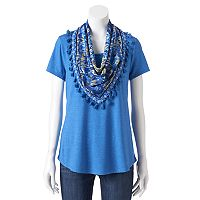 Women's World Unity Print Scoopneck & Scarf Tee