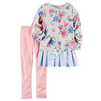 Girls 4-8 Carter's Mixed Fabric Top & Solid Leggings Set