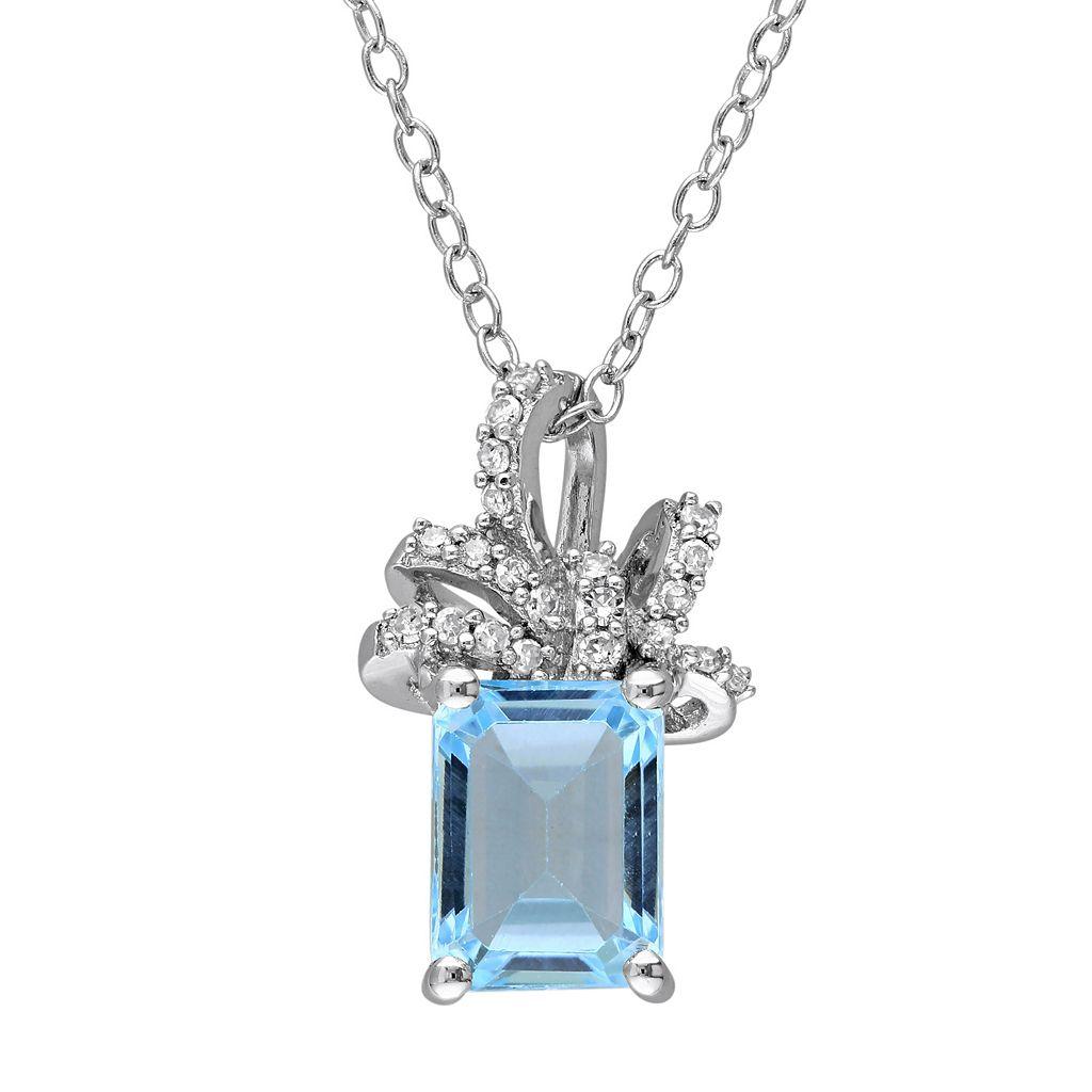 Laura Ashley Sterling Silver Sky Blue Topaz & 1/10 Carat T.W. Diamond Bow Pendant