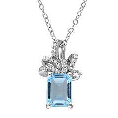Laura Ashley Lifestyles Sterling Silver Sky Blue Topaz & 1/10 Carat T.W. Diamond Bow Pendant