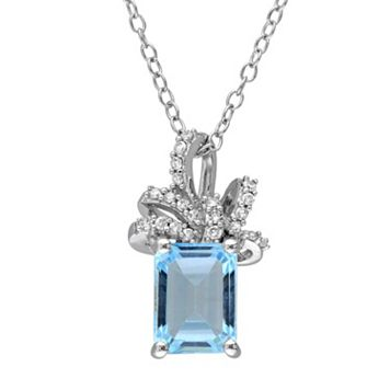 Laura Ashley Sterling Silver Sky Blue Topaz & 1/10 Carat T.W. Diamond Bow Pendant