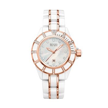 Bulova Women's Accu Swiss Diamond Ceramic & Stainless Steel Watch - 65R155