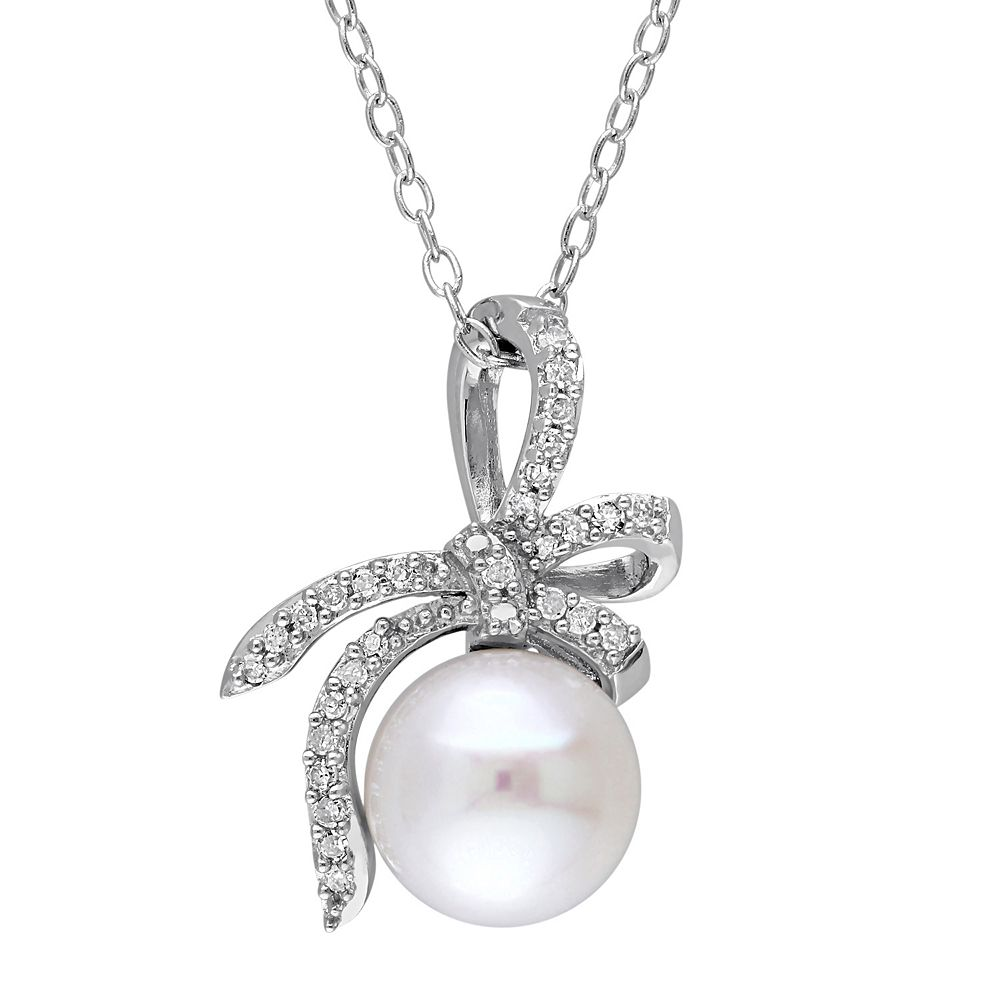 Laura Ashley Lifestyles Sterling Silver Freshwater Cultured Pearl & 1/10 Carat T.W. Diamond Bow Pendant