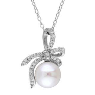 Laura Ashley Sterling Silver Freshwater Cultured Pearl & 1/10 Carat T.W. Diamond Bow Pendant