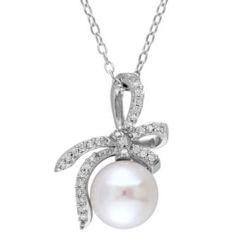 Stella Grace Laura Ashley Sterling Silver Freshwater Cultured Pearl & 1/10 Carat T.W. Diamond Bow Pendant