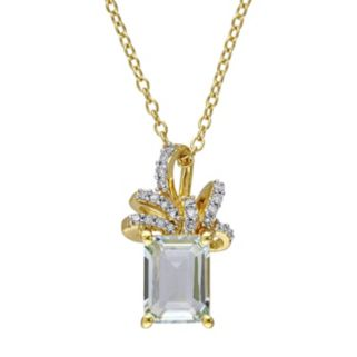 Laura Ashley Sterling Silver Green Quartz & 1/10 Carat T.W. Diamond Bow Pendant
