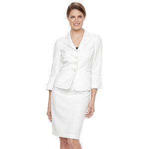Women's Le Suit Circle Jacquard 3-Button Suit Jacket & Pencil Skirt Set