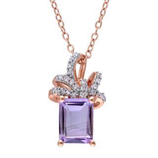 Laura Ashley Sterling Silver Rose de France Amethyst & 1/10 Carat T.W. Diamond Bow Pendant