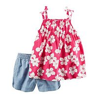 Girls 4-8 Carter's Floral Top & Chambray Shorts Set
