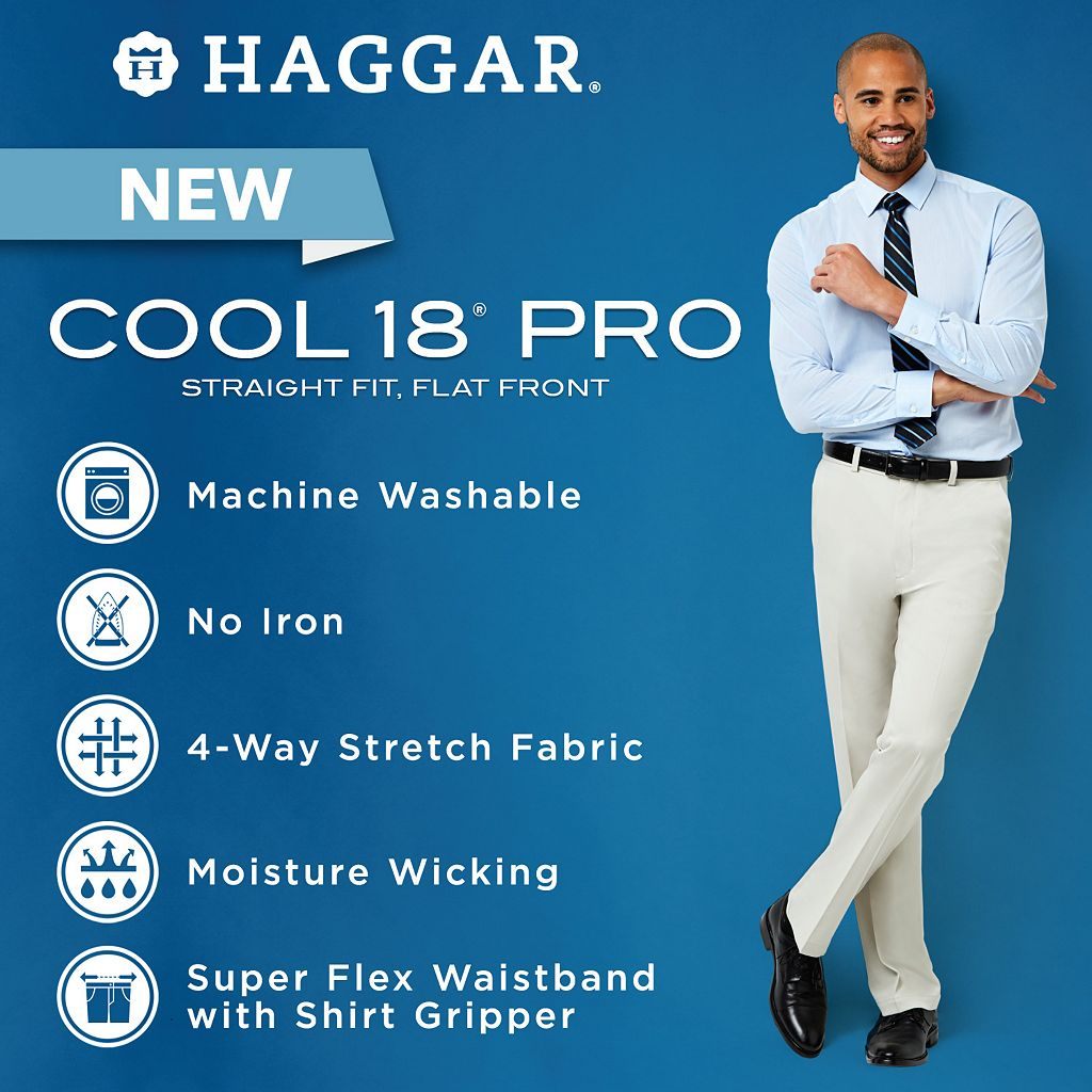 Men's Haggar® Cool 18® PRO Straight-Fit Wrinkle-Free Flat-Front Super Flex Waist Pants