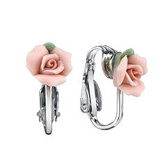 1928® Porcelain Rose Clip On Earrings