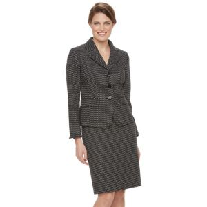 Women's Le Suit Circle Textured Polka-Dot Suit Jacket & Pencil Skirt Set