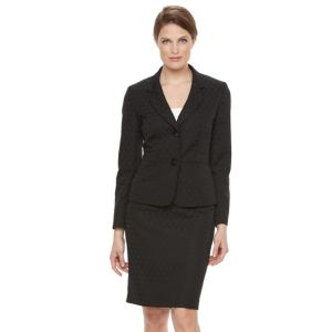 Women's Le Suit Circle Jacquard 2-Button Suit Jacket & Pencil Skirt Set