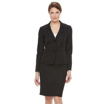 Women's Le Suit Circle Jacquard 2-Button Suit Jacket & Pencil Skirt Set