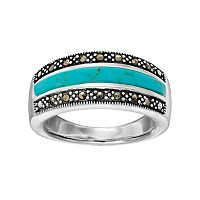 Silver Luxuries Simulated Turquoise & Marcasite Ring