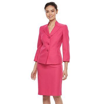Women's Le Suit Pique Suit Jacket & Pencil Skirt Set