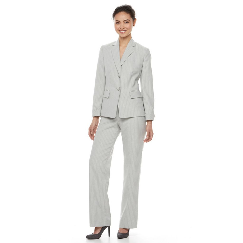 Women's Le Suit Pinstriped Suit Jacket & Pants Set