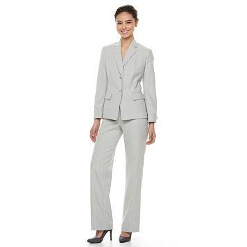 Women's Le Suit Pinstriped Suit Jacket & Pants Set