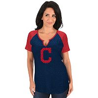 Women's Majestic Cleveland Indians Burnout Tee