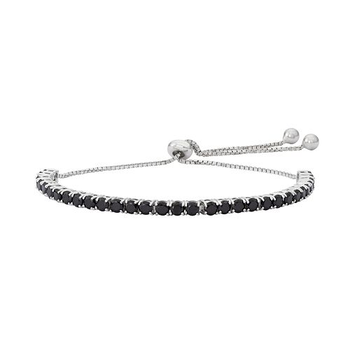 Sterling Silver Black Spinel Lariat Bracelet