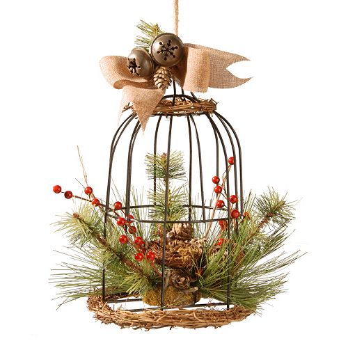 National Tree Company Artificial Pine & Berry Bird Cage Table Decor