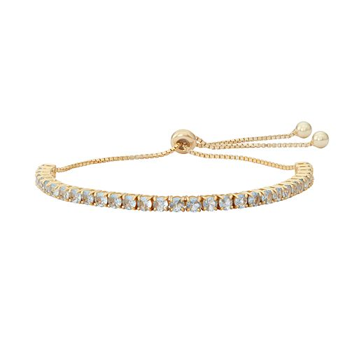 14k Gold Over Silver Lab-Created Aquamarine Lariat Bracelet