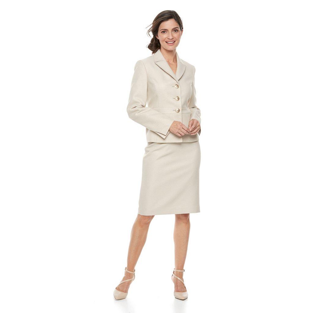 Women's Le Suit Tweed Button-Front Jacket & Skirt Set