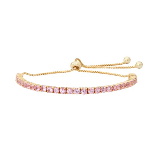 14k Gold Over Silver Lab-Created Pink Sapphire Lariat Bracelet