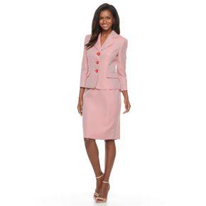 Women's Le Suit Tweed Jacket & Skirt Set