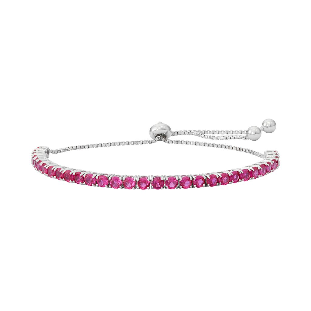 Sterling Silver Lab-Created Ruby Lariat Bracelet