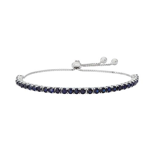Sterling Silver Lab-Created Sapphire Lariat Bracelet