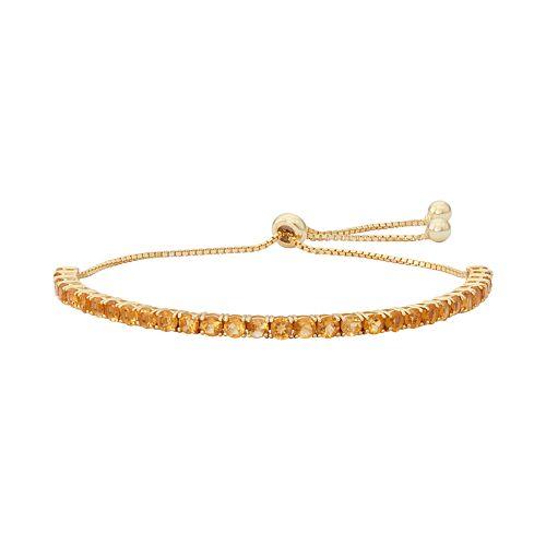 14k Gold Over Silver Citrine Lariat Bracelet