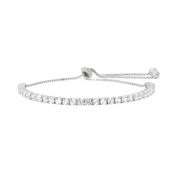 Sterling Silver Lab-Created White Sapphire Lariat Bracelet