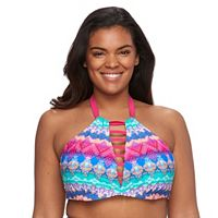 Plus Size Pink Envelope Bust Enhancer Medallion Halter Bikini Top