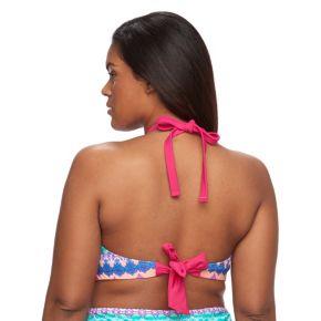 Plus Size Pink Envelope Bust Enhancer Medallion Halter Bikini Top