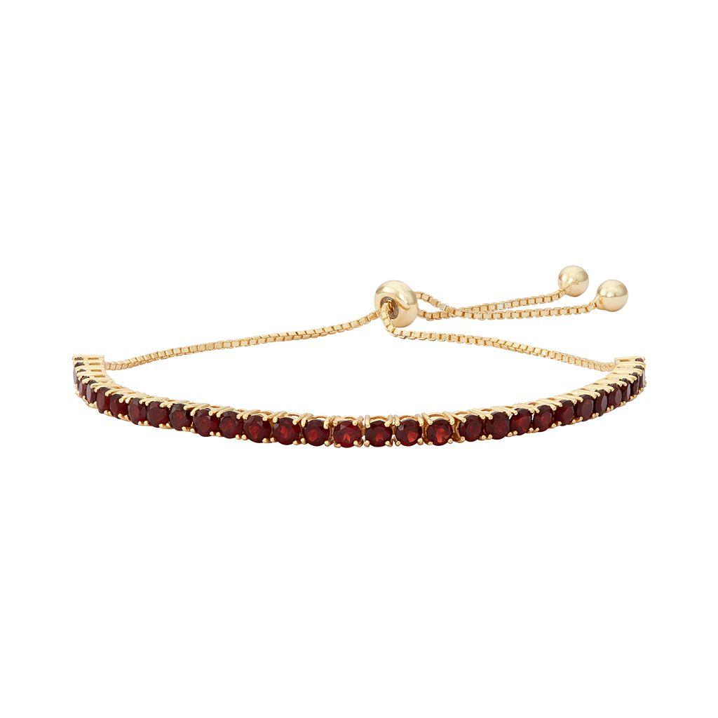 14k Gold Over Silver Garnet Lariat Bracelet