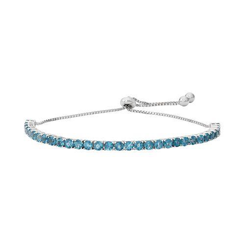 Sterling Silver Blue Topaz Lariat Bracelet